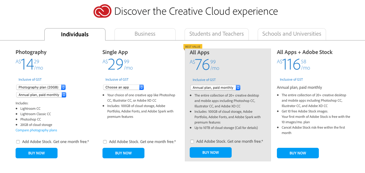Adobe Creative Cloud Plans 2021